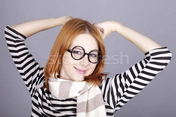 Jungen Mädchen Gläser Gesicht Haar Stock foto © Massonforstock