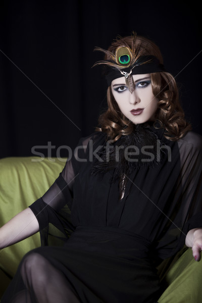 Fille 20s style visage jeunes Photo stock © Massonforstock