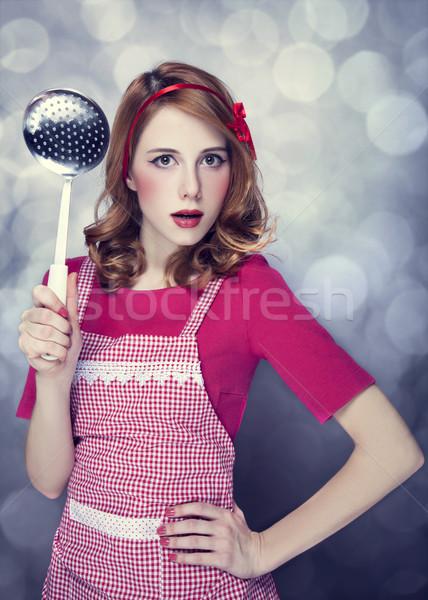 赤毛 主婦 スープ ひしゃく 少女 顔 ストックフォト © Massonforstock