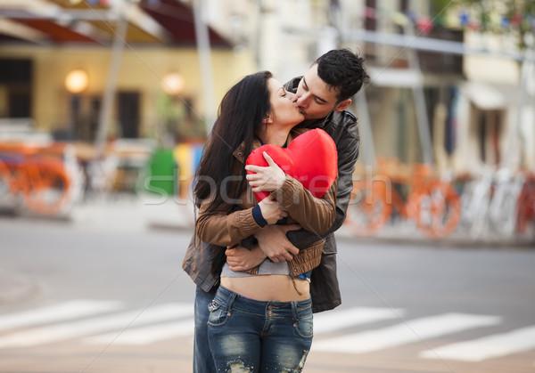 Fiatal pér csók utca forma szív lány Stock fotó © Massonforstock