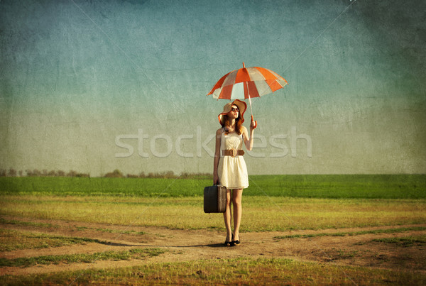 Parapluie valise printemps pays campagne Photo stock © Massonforstock