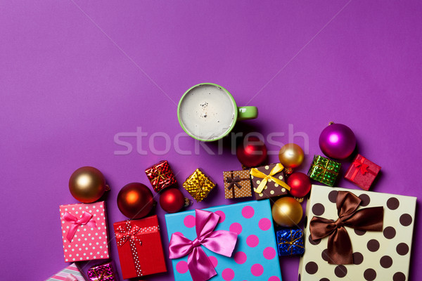 Cup of coffee and Christmas gifts  Stock photo © Massonforstock