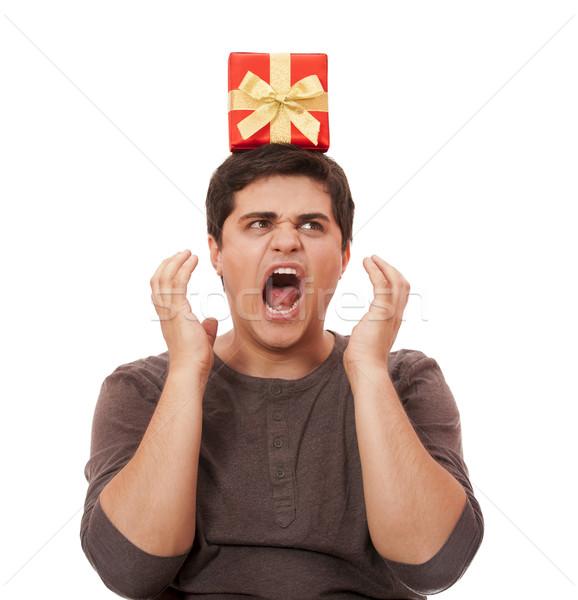 怒っ 男 現在 ボックス 白 ストックフォト © Massonforstock