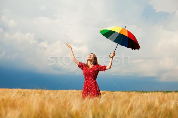 Сток-фото: девушки · зонтик · области · женщины · природы
