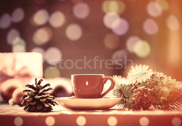Tasse thé branche Noël lumières café Photo stock © Massonforstock