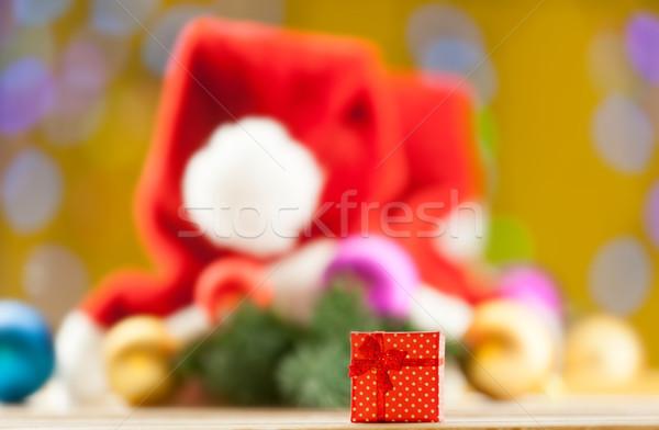 Gift box on christmas background Stock photo © Massonforstock