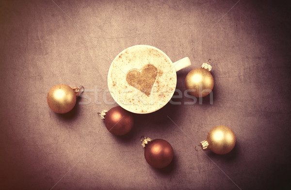 coffee with heart shape and christmas bubbles  Stock photo © Massonforstock