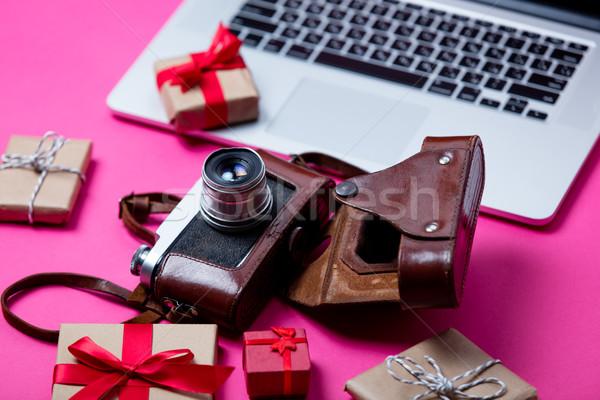 Piękna prezenty inny kamery cool laptop Zdjęcia stock © Massonforstock