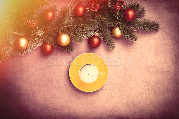 cup of coffee and beautiful christmas decorations on the wonderf Stock photo © Massonforstock