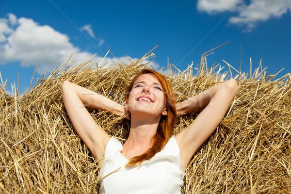 фото красивой сено улыбаясь замечательный Сток-фото © Massonforstock