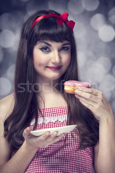 Stockfoto: Stijl · meisje · cake · bokeh · hand · vrouwelijke