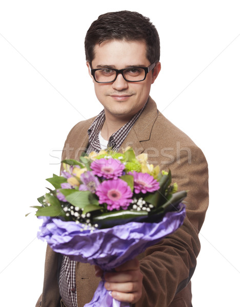 Stock fotó: Férfi · virágok · kéz · szeretet · boldog · szemüveg