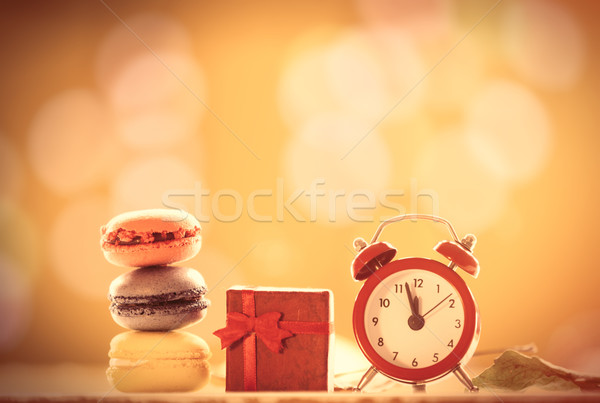 часы французский macarons подарок будильник желтый Сток-фото © Massonforstock