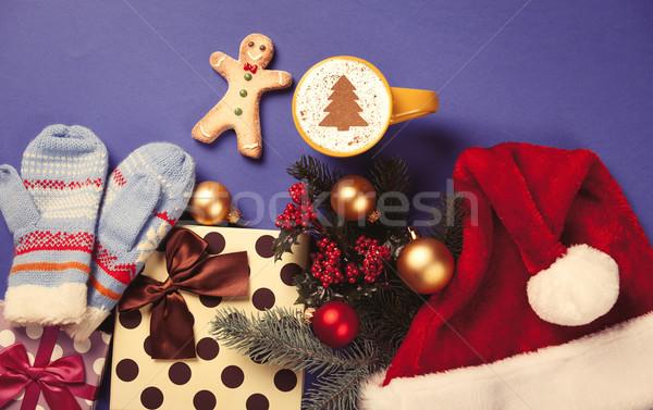 Cappuccino cadeaux tasse arbre de noël forme bleu Photo stock © Massonforstock
