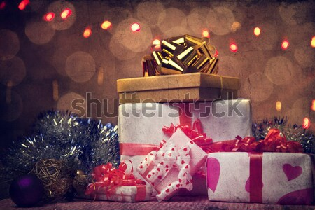 Christmas gift box with christmas balls Stock photo © Massonforstock