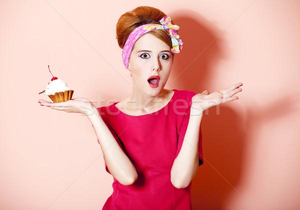Style fille gâteau rose fête Photo stock © Massonforstock