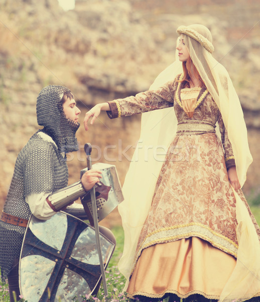 Knight and medieval lady at outdoor Stock photo © Massonforstock