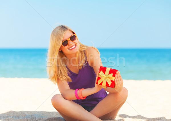 Menina dom praia mar aniversário Foto stock © Massonforstock