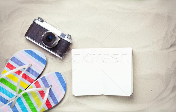 Papucs notebook kamera színes klasszikus régi fényképezőgép Stock fotó © Massonforstock