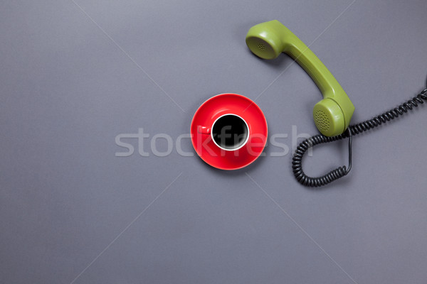 coffee cup and retro dial phone Stock photo © Massonforstock