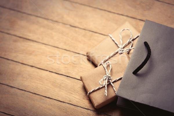 Presentes saco belo preto bolsa de compras maravilhoso Foto stock © Massonforstock