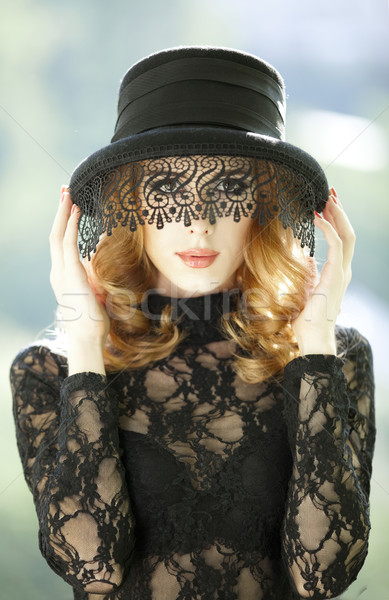 Fashion redhead girl with vail. Stock photo © Massonforstock