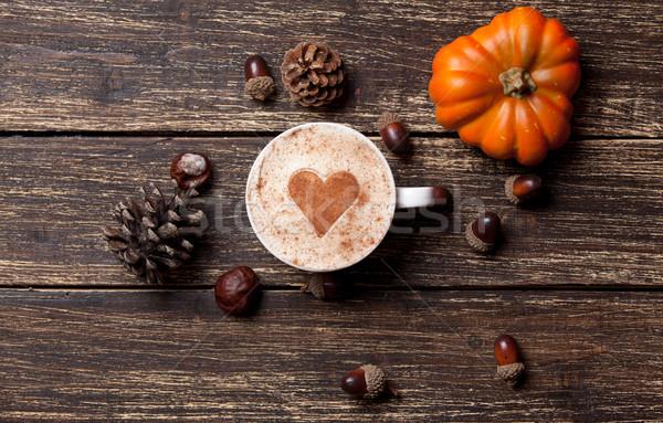 Кубок соснового конус желудь тыква кофе Сток-фото © Massonforstock