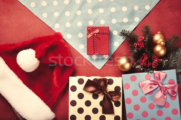 クリスマス 贈り物 ナプキン 赤 ツリー ボックス ストックフォト © Massonforstock