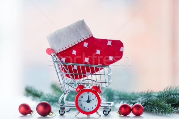 ébresztőóra karácsony zokni bevásárlókocsi szeretet terv Stock fotó © Massonforstock