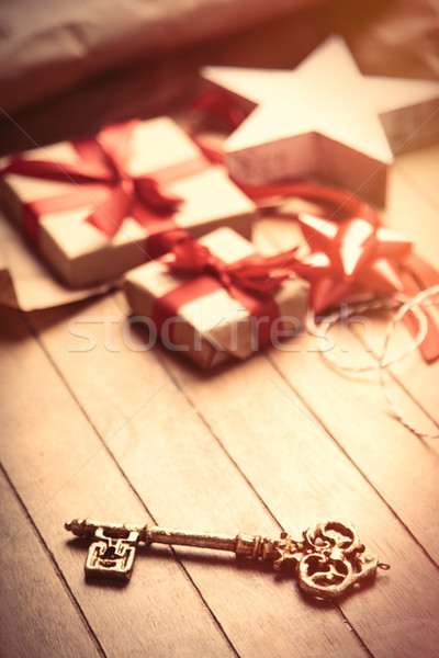 cute gifts, star shaped toy, golden key and things for wrapping  Stock photo © Massonforstock