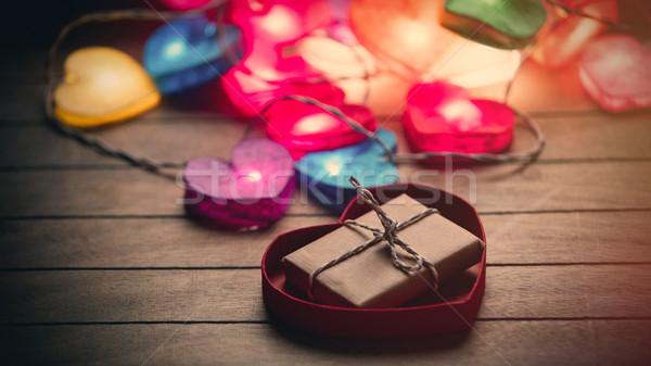 Gyönyörű színes szív alakú girland ajándék Stock fotó © Massonforstock