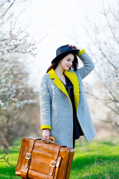 Belle jeune femme brun valise permanent se demander Photo stock © Massonforstock