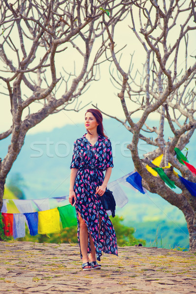 Young woman and Buddhism temple Stock photo © Massonforstock