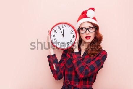 Dziewczyna budzik żółty kobieta szkoły Zdjęcia stock © Massonforstock