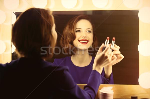写真 美しい 若い女性 口紅 勝利 ストックフォト © Massonforstock