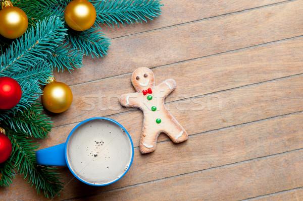 Tasse café gingerbread man coloré Photo stock © Massonforstock