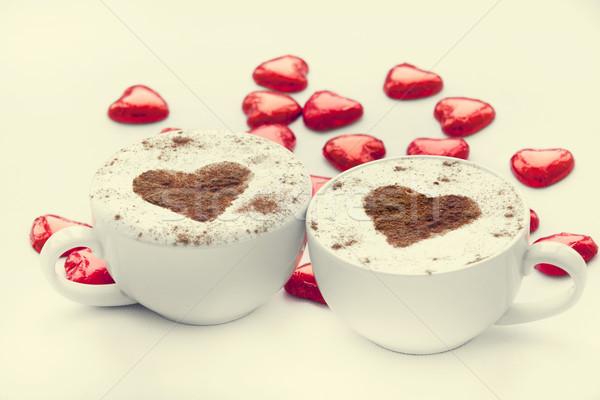 Сток-фото: два · Кубок · кофе · сердце · символ · конфеты
