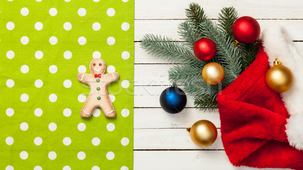 Stock photo: Gingerbread and napkin with baubles