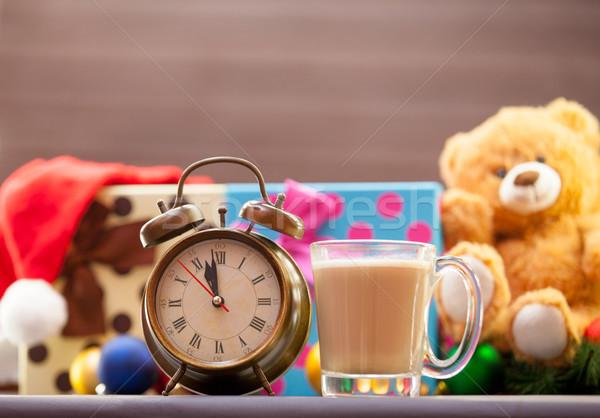 Réveil tasse cappuccino Noël sourire café Photo stock © Massonforstock