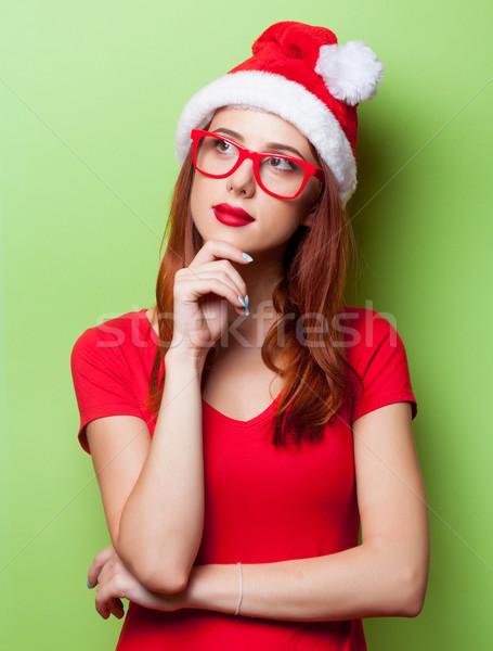 удивленный женщины Рождества Hat портрет серый Сток-фото © Massonforstock
