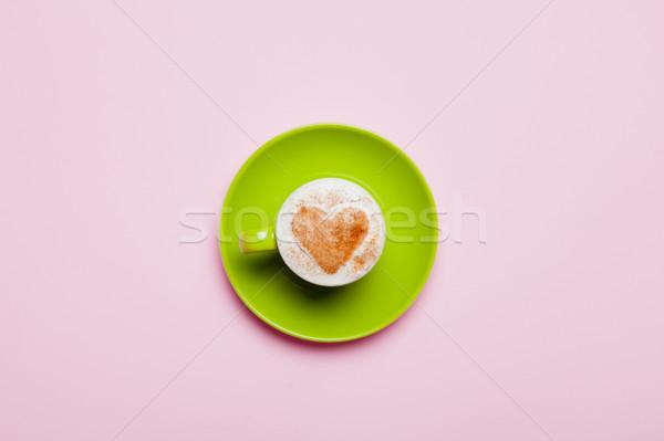 Fotó csésze kávé csodálatos rózsaszín üveg Stock fotó © Massonforstock