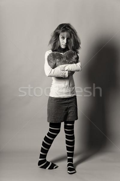 Szomorú lány szív fotó feketefehér stílus Stock fotó © Massonforstock