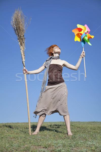 Fiatal boszorkány zöld mező seprű szélturbina Stock fotó © Massonforstock