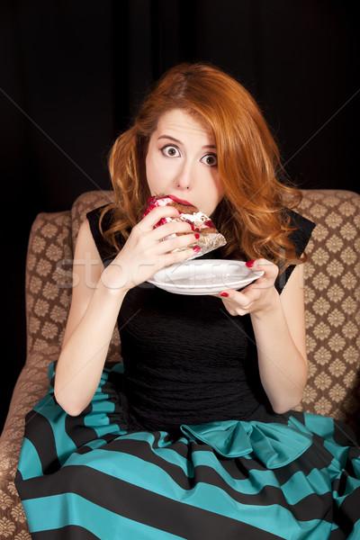 赤毛 少女 食べ ケーキ 幸せ ファッション ストックフォト © Massonforstock