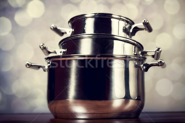 Steel cooking pots Stock photo © Massonforstock