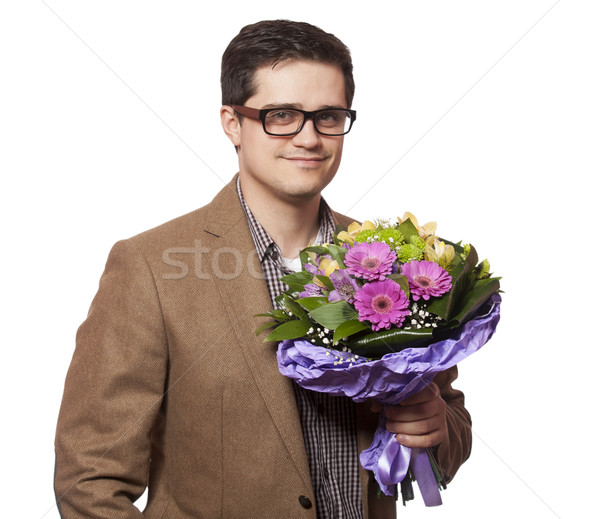 man with flowers in hand Stock photo © Massonforstock