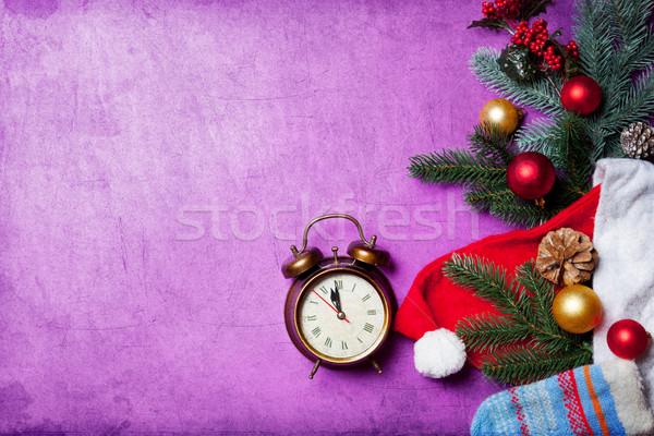 Alarm clock on christmas background Stock photo © Massonforstock