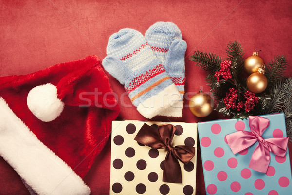 Christmas gifts and mitten  Stock photo © Massonforstock