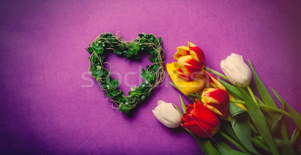 bouquet of roses and heart shape toy  Stock photo © Massonforstock