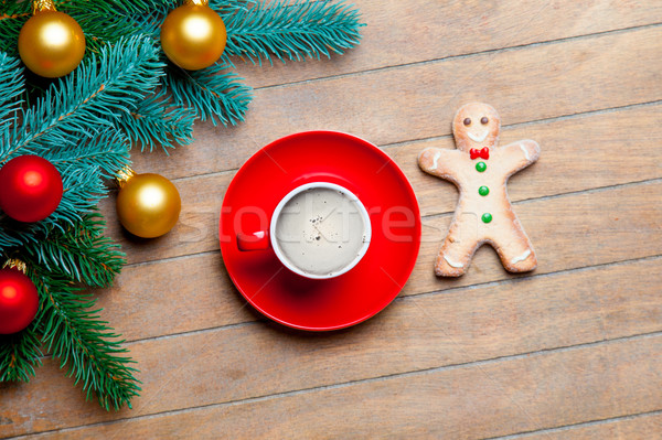 Copo café gingerbread man colorido Foto stock © Massonforstock
